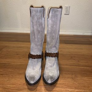 Fyre light grey suede tall boots